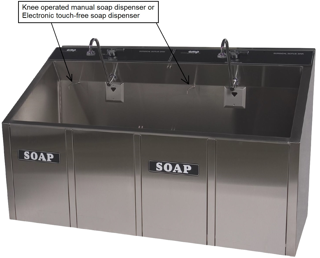 Surgical Scrub Sink In One, Two, Or Three Bay Sizes Automatic, Knee  Operated, Or Electronic Sensor From CMP