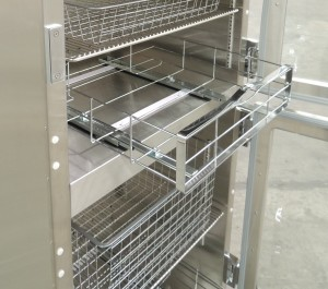 Optional stainless steel or epoxy coated warmer baskets with drawer slides for 2-comparment Warmer