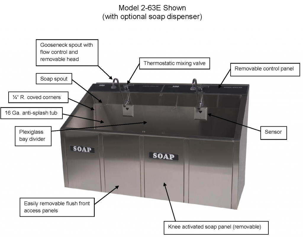 Continental Metal Products 2-Bay Automatic Scrub Sink's Features