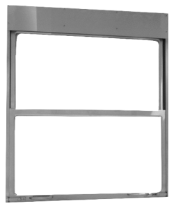 Stainless Steel Pass through window for hospital SPD CSSD shown with double hung glass pass thru