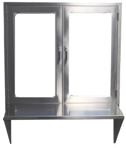 hospital pass through window assembly with hinged glass doors and stainless steel shelf or set down counter from Continental Metal Products