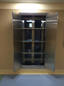 Hospital Pass Through Operating room Cabinet with Stainless Steel doors on the Sterile Core side