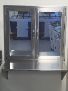CMP Pass-Through Assembly with Hinged Glass Doors