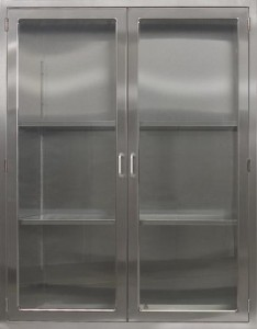 CMP Stainless Steel OPerating Room General Storage Cabinet SC2 Stainless steel storage cabinet with adjustable shelves Hinged glass doors