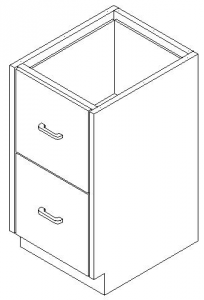 CMP Stainless Steel Healthcare Casework Base Cabinet -Single Tier 2 Drawer Cabinet