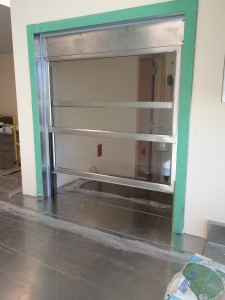 Large Pass through window being installed in Hospital Sterile Processing Department