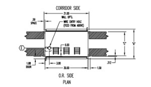 Pass Through Cabinet Interlock overhead cross section drawing showing door opening on both sides from CMP