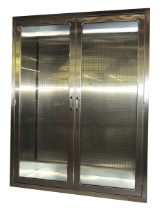 Recessed hospital stainless steel storage cabinet with pegboard and glass doors for hospital SPD, OR from CMP