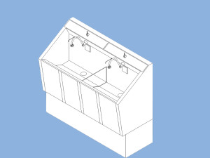 CMP Surgical scrub sink rendering in Revit® Families - 3D Building Information Modeling (BIM) content files in Autodesk® Revit® 2014