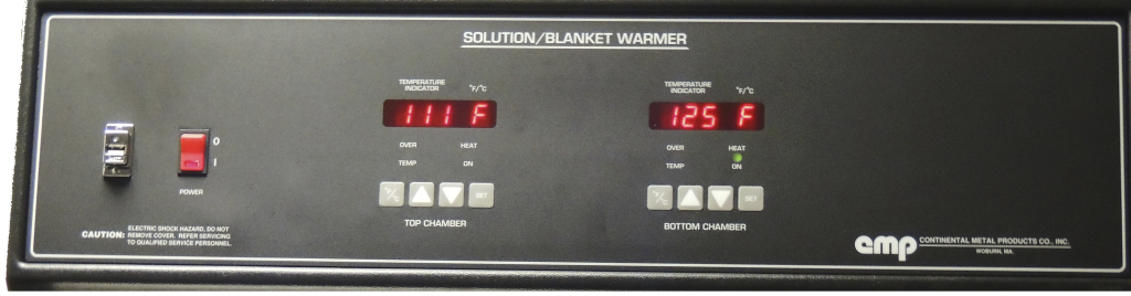 CMP warming cabinet has separate controls to comply with ECRI recommendations and temperature lockout feature - This control panel demonstrates  optimal WARMING CABINET TEMPERATURE