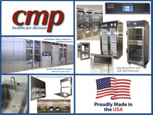 CMP Stainless Steel Healthcare Equipment for Operating Rooms. USP 800 Pharmacies and Sterile Processing Department is proudly Made in the USA