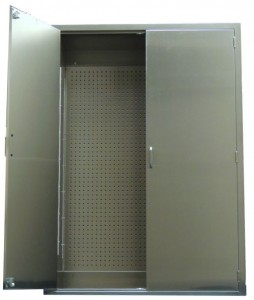 Stainless accessory cabinet containg stainless pegboard