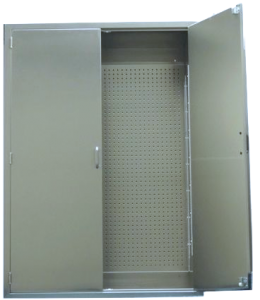 Stainless steel surgical table accessory cabinet with pegboard