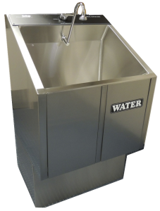 1-bay scrub sink on stainless pedistal base 1-32E