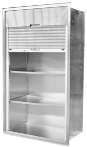 Roll-up Tambour door on stainless steel surgical storage