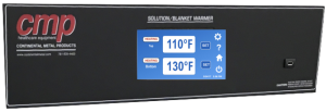 Easy to operate 2019 touchscreen panel for CMP's Warming Cabinets demonstrating blanket solution warmer temperature guidelines