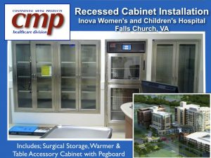 Recessed Operating Room Cabinets at Inova Woman's and Children's Hospital includes stainless steel surgical supply cabinet and blanket warmer