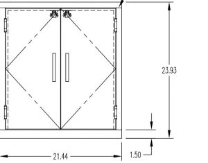 """Small Pass Through Chamber with interlocking doors measuring 22"""" w x 24""""H with Stainless Steel doors"""
