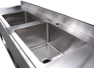 Sterile Processing Work Sinks for reprocessing surgical instruments can be customized with many options and 1,2,3-sink configurations