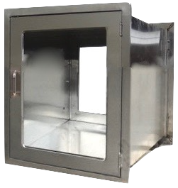 "Small Pass Through Chamber with interlocking doors measuring 24"" w x 24""H with Glass doors"