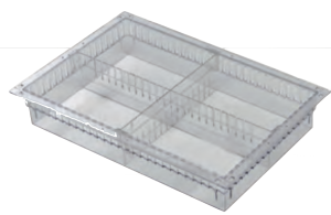 """4"""" deep Surgical supply storage with one long and one short divider constructed of PC transparent"""
