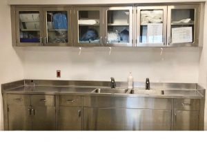Continental Metal Products Stainless Steel Custom Casework for Hospitals- Base and Wall Cabinets with countertops