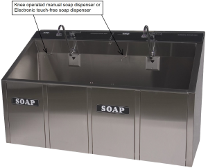 CMP Surgical Scrub Sink in one, two, or three bay sizes - sensor or manual soap option