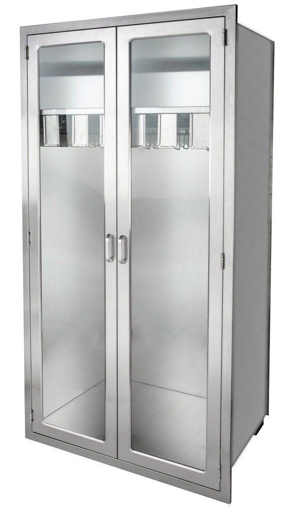 Recessed Stainless Steel Catheter storage cabinet with glass doors and pull out catheter slides from CMP