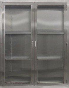 CMP Stainless Steel OPerating Room General Storage Cabinet SC2 Stainless steel storage cabinet with adjustable shelves Hinged glass doors
