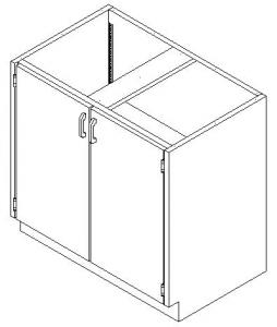 CMP Healthcare Stainless Steel Base Cabinet - Hinged Double Door Cupboard