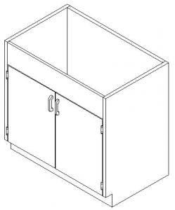 CMP Stainless Steel Healthcare Casework Base Cabinet - Hinged Double Door Sink Cabinet
