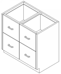 CMP Stainless Steel Healthcare Casework Base Cabinet -Double Tier 4 Drawer Cabinet