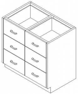 CMP Stainless Steel Healthcare Casework Base Cabinet -Double Tier 6 Drawer Cabinet