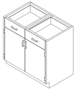 CMP Stainless Steel Healthcare Casework Base Cabinet - Hinged Double Doors and Drawers Cabinet