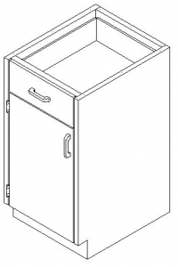 CMP Stainless Steel Healthcare Casework Base Cabinet - Base Single Door and Drawer