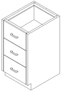 CMP Stainless Steel Healthcare Casework Base Cabinet -Single Tier 3 Drawer Cabinet