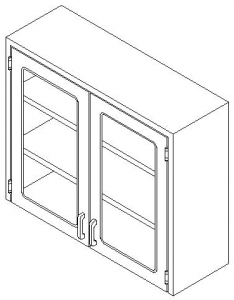 CMP Custom Stainless Steel Healthcare Casework- Wall Unit with Hinged Double Glass Door Wall Cabinet