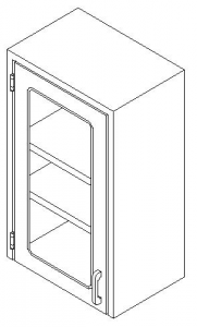 CMP Custom Stainless Steel Healthcare Casework- Wall Unit  with Hinged Single Glass Door Wall Cabinet