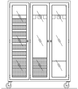 Three section mobile Stainless Steel Operating Room Storage Cabinet