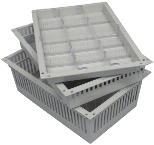 """Variety of sizes of baskets and trays for Hybrid OR Cabinets. 23-5/8"""" x 15-3/4"""" in heights of 2"""", 4"""" and 8""""."""
