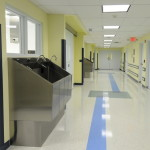 Surgical Scrub Sinks on Sterile Corridor adjacent to Operating Rooms with Stainless Steel Pedestal base