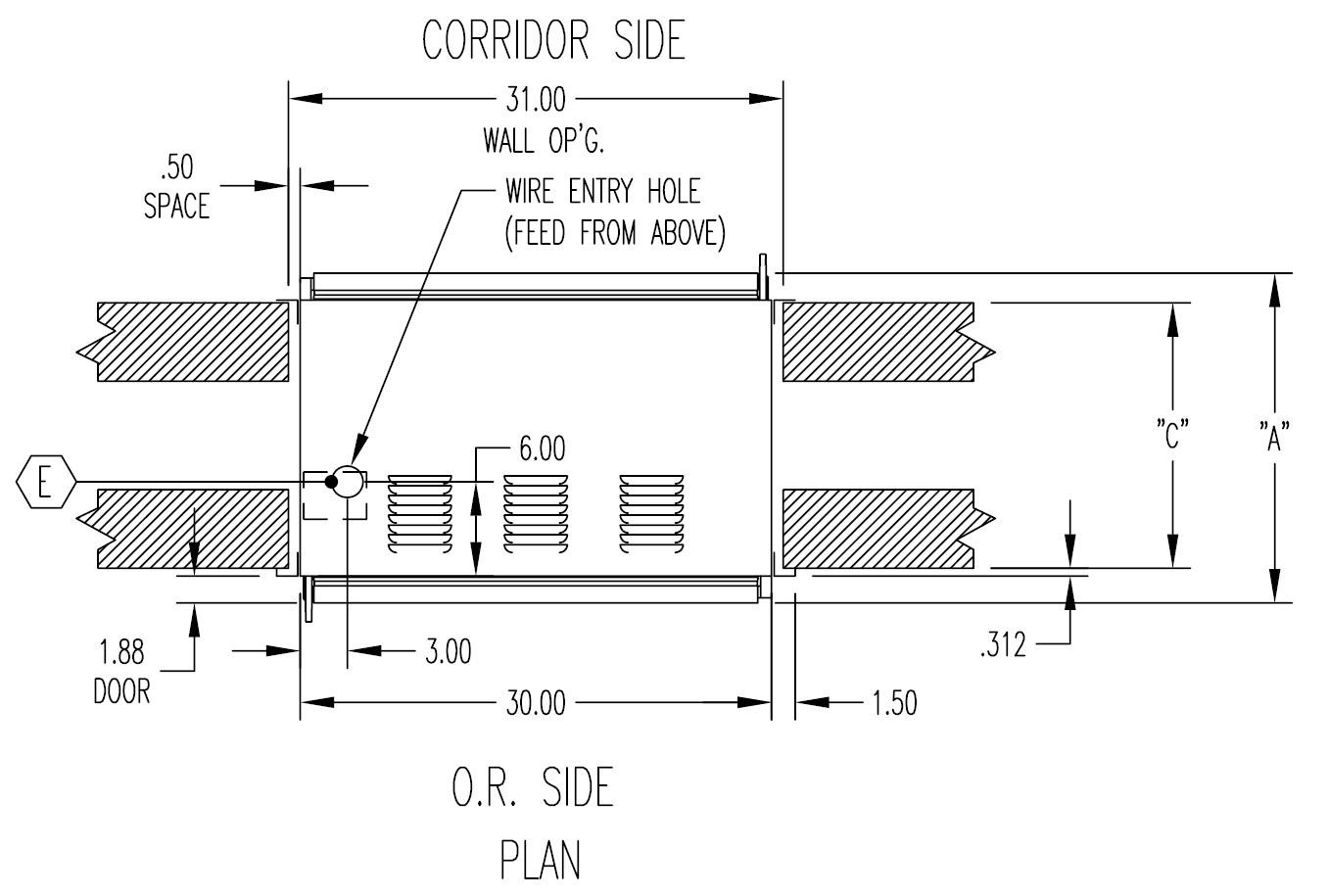 P Through Warming Cabinet Overhead Cross Section Drawing