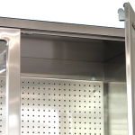 stainless steel pegboard in CMP's surgical table accessory cabinet close up view