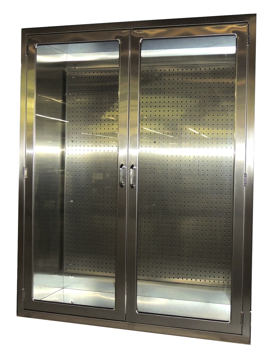 Recessed Hospital Stainless Steel Storage Cabinet With Pegboard And Gl Doors For Spd Or