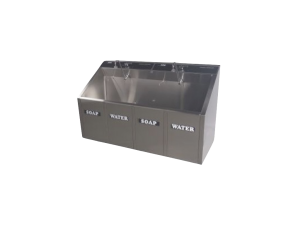 2-BAY SURGICAL SCRUB SINK.,double compartment with knee operated water and soap dispenser from Continental Metal Products
