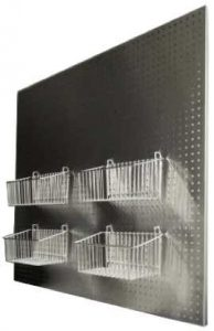 Pegboard - Hospital Surgical Instrument Pegboard manufactured in Stainless Steel - shown with baskets