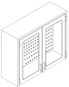 instrument storage cabinet for Hospital Sterile Processing department (SPD) - wall hung - contains pegboard