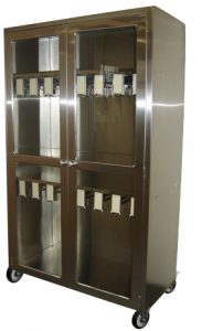 Mobile cath lab storage cabinets in stainless steel with casters and locks