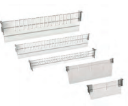 Fixed and sliding dividers for storage trays and baskets