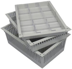 """Storage baskets 2"""", 4"""" and 8"""" deep with dividers for hybrid OR and surgical storage cabinets in ABS gray"""